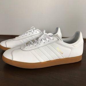Adidas Gazelle, white leather and gum sole, 11